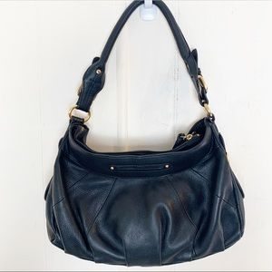 B Makowsky Black Leather Gold Buckle Hobo Bag